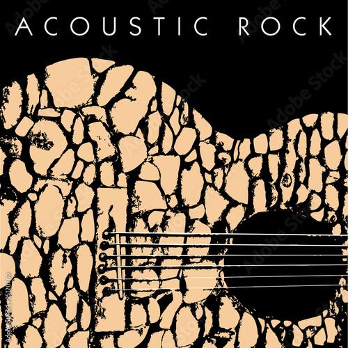 Fotobehang Muziek A depiction of an acoustic guitar made of stones