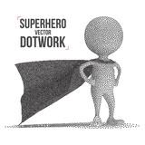 Dotwork Halftone Vector Superhero