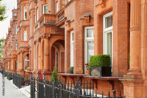 Red bricks houses in London, english architecture Poster