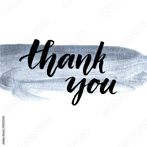 Thank you. Calligraphy phrase handwritten on silver paint stroke. Brush lettering for client service, message after purchase. Vector design