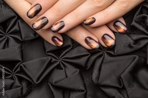 Beautiful woman's nails with nice stylish manicure. Poster