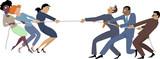 Businesswomen versus businessmen tug of war, EPS 8 vector illustration, no transparencies - 95135376