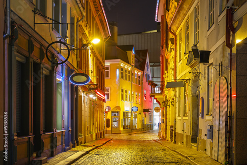 Fototapeta Night street in the Old Town of Riga, Latvia