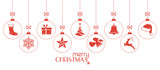 Fototapety Monochrome red Christmas baubles, Christmas ornaments