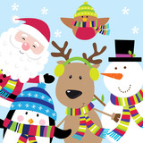 Holiday Card with Cute Santa and Friends. EPS 10 & HI-RES JPG Included