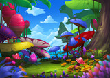 Fototapety Illustration: Exotic Forest with Strange and Beautiful Things. For a Traveler it's Excited and Lucky to meet the place, also Dangerous. Realistic Cartoon Style Scenery / Wallpaper / Background Design.
