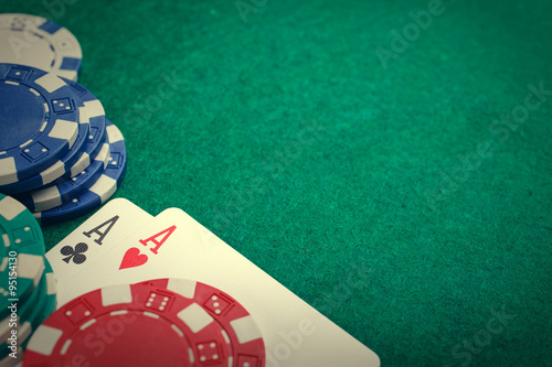 poker two aces, place for text плакат