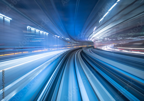 Motion blur of train moving inside tunnel in Tokyo, Japan - 95154900