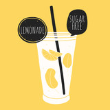 Doodle glass with lemonade. Kitchen illustration