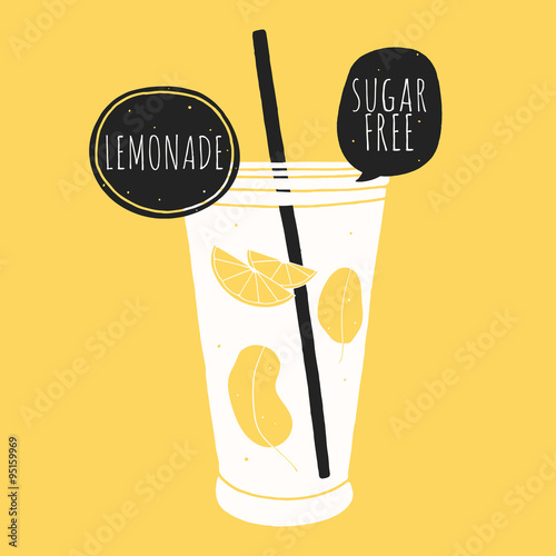 Doodle glass with lemonade. Kitchen illustration - 95159969