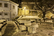 night view of pavement cafe covered with snow. Zagreb. Croatia.