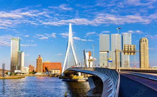 Fotobehang Rotterdam View of Erasmus Bridge in Rotterdam, Netherlands