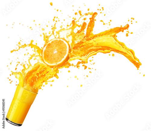 Orange juice splashing with its fruits isolated on white - 95168341