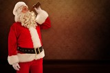 Fototapety Composite image of father christmas drinking a beer