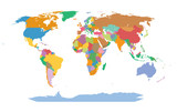 Very detailed map of the world. Each country is grouped and colored