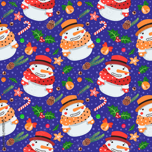 Materiał do szycia Christmas seamless vector pattern with snowmen (on dark blue background)