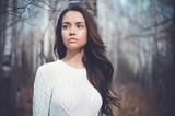 Fototapety Beautiful lady in a birch forest