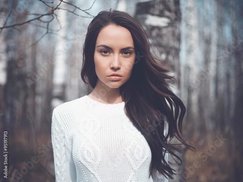 Beautiful lady in a birch forest Poster
