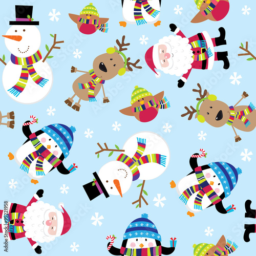 Materiał do szycia Seamless Cute Santa and Friends Illustration. EPS 10 & HI-RES JPG Included