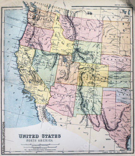 Victorian era map of Western States of USA | Buy Photos | AP Images ...