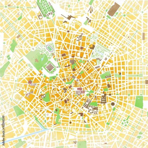 Fotobehang Milan Cartina Milano, disegnata a mano, pennellate, strade e vie, Italia