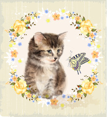 Vintage card with fluffy kitten, roses and butterfly. Imitation