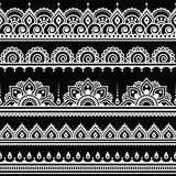 Mehndi, Indian Henna tattoo seamless white pattern on black background - 95251782