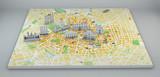Milano vista satellitare, con mappa e monumenti disegnati, effetto carta