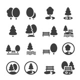 Fototapety Park Icon Set. Trees, forest, vector icons
