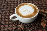 Fototapety Coffee time , clock drawing on latte art coffee cup