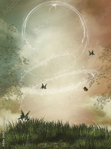 fantasy landscape with sparkles and butterfly - 95284164