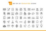 Fototapety Set of 50 education icons, thin line style