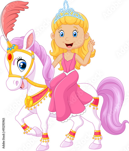 Poster Pony Beautiful princess riding horse isolated on white background