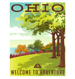 Fototapety Retro style travel poster series. United States, Ohio landscape.
