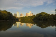 Atlanta skyline with water reflections from Piedmont Park, USA