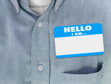 Hello I Am Blank Name Tag Sticker Blue Shirt
