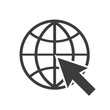Globe with arrow icon in a flat style web