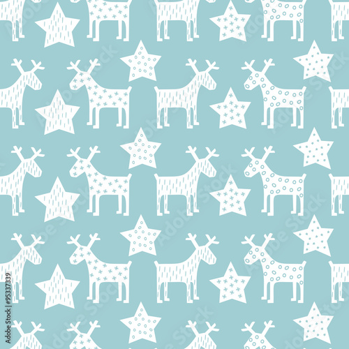 Cotton fabric Seamless retro Christmas pattern - Xmas reindeer and night stars. Happy New Year background. Vector design for winter holidays on blue background.