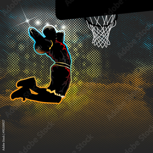 fototapeta na ścianę Basketball player goes for two handed dunk