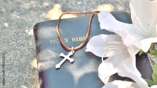 Plexiglas Azalea Christian cross and Bible background