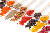 collection of spices on spoons, isolated background - 95346718