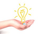hand holding drugs and light bulb ,Idea concept - 95356511