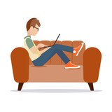 person at the computer on a white background a vector illustration