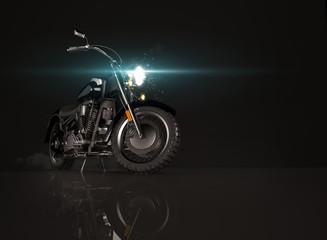 Old vintage motorcycle on black background. © medvedsky_kz