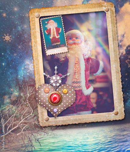 Staande foto Imagination Vintage postcard with Santa Klaus and starry seaside background