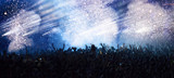 Fototapety New Year concept - cheering crowd and fireworks