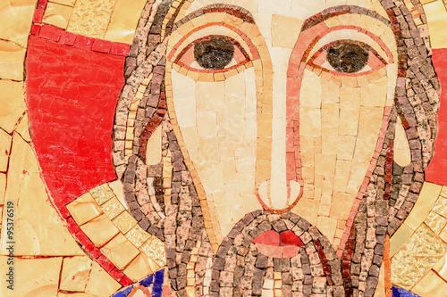 Zdjęcia na płótnie, fototapety, obrazy : Detail of the face, eyes of Jesus Christ in mosaic