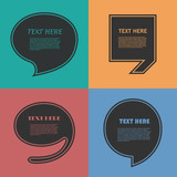 Icon Set of Quotation. Speech Bubble templates with quote sign, symbol