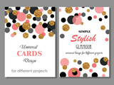 Collection of Universal Modern Stylish Cards Templates with Goldlen Glitter Dots. - 95390998