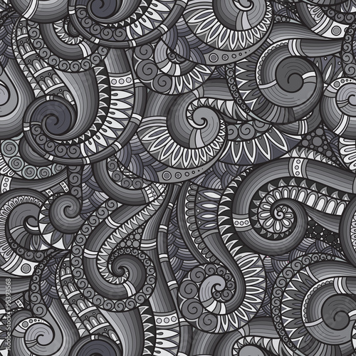 Tuinposter Stof Seamless asian ethnic floral retro doodle background pattern in